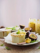 White chocolate, yoghurt and coconut pudding with passion fruit sauce