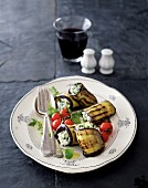 Grilled aubergine rolls filled with ricotta