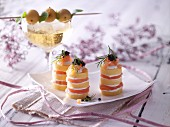 Polenta and salmon towers with caviar
