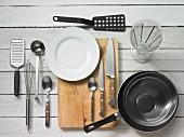 Kitchen utensils for making a pancake cake