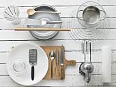 Kitchen utensils for making strawberry tart