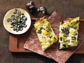 Leek and potato cake with pumpkin seeds