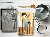 Kitchen utensils for making vegetable salad with crostini