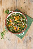 A white and green bean salad with grated carrots