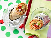 Ham and pepper wraps