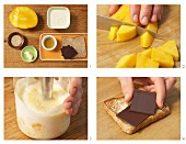 Chocolate on toast with mango yoghurt being made