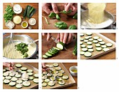 Herb polenta with gratinated courgette slices being made