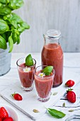 Strawberry smoothies with basil