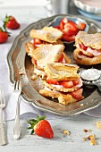 Choux pastry slices with strawberries and yogurt cream