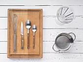 Kitchen utensils for making polenta porridge