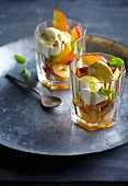 Nectarine salad with vanilla ice cream and olive oil