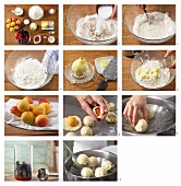 How to prepare yeast dumplings with an apricot filling served with berry sauce