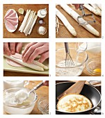 White asparagus wrapped in ham with Kratzete (pastries from Baden-Wuerttemberg) being made