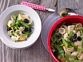 Orecchiette salad with green beans, yellow courgette and olives