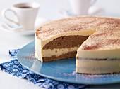 Advocaat cake, a piece cut