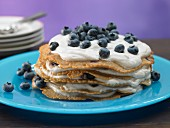 A pancake cake with blueberry quark
