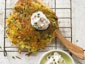 Potato & courgette fritter with tomato quark