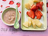 Pineapple and strawberry chunks with nut cream