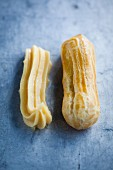 Eclairs, raw and baked