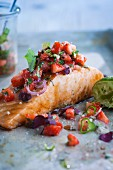 Salmon with strawberry ragout