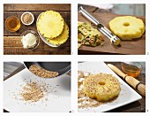 How to prepare pineapple with a sesame seeds coating