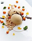 Homemade carrot and sea buckthorn ice cream