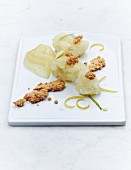 Pear and celeriac sorbet with ginger crumbs