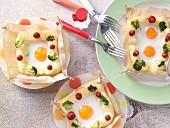 Eggs in a potato nest
