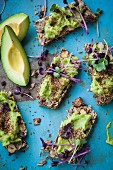 Chia bread with avocado, linseed and shiso cress (superfood)