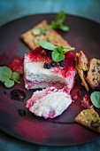 Vegan cheese with beetroot powder, aronia berries, and crackers (Superfood)