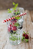 Detox water with berries and woodruff