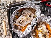 Grilled ling with mushrooms and carrots