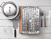 Kitchen utensils for chicken kebabs