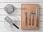 Kitchen utensils for preparing shrimp vinaigrette