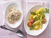 Asparagus ragout with saffron sauce