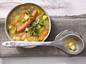 Potato soup with sausages