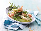 Asparagus salad with prawns