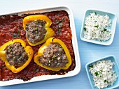 Stuffed yellow peppers with herb rice