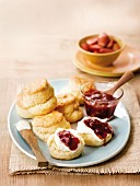 Scones with strawberry jam and cream