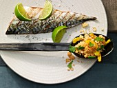 Pepper & lime couscous with grilled mackerel