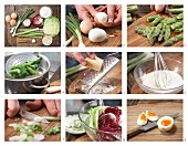 How to prepare egg and asparagus salad with yoghurt dressing