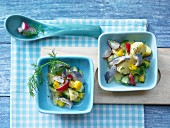 Potato & herring salad with yellow pepper, radish and a dill & mustard dressing