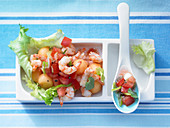 Melon and endive salad with prawns and mint and tomato salsa