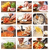 How to prepare spaghetti with tomato sauce and turkey breast strips