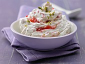 Cream cheese and strawberry cream with pistachios