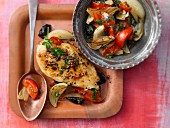 Chicken breast with vegetables and plums