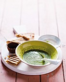 Spinach & yoghurt soup with a toasted cheese sandwich