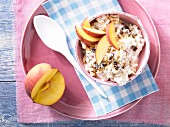 Bircher muesli with peach slices