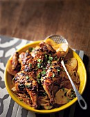 Paprika chicken with saffron potatoes