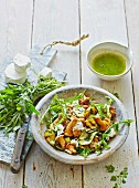 A summery project salad with chanterelle mushrooms, rocket and goats' cheese